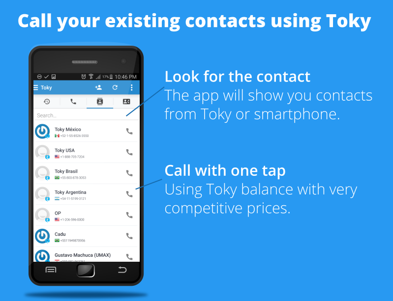 Call your contacts using Toky app