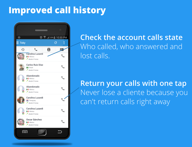 Call history improved in Toky app