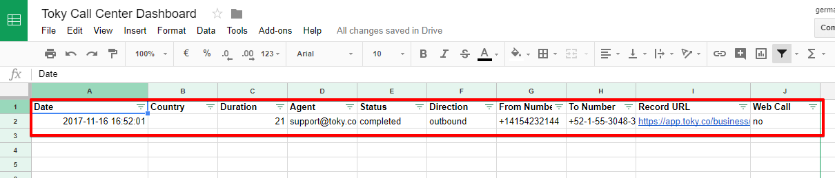 Toky Call center sheet with row added by zapier