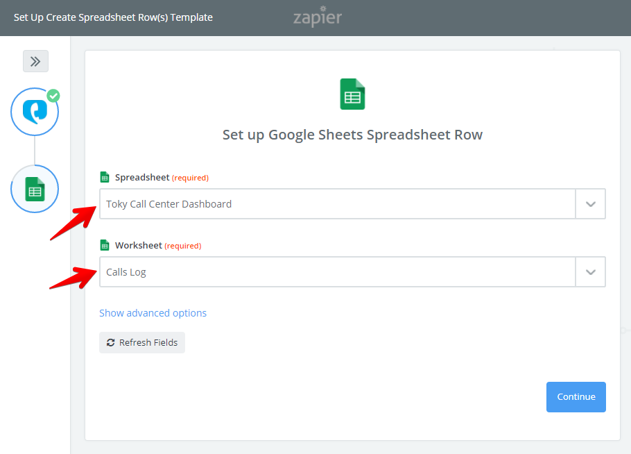 Zapier select Google Spreadsheet and Worksheet