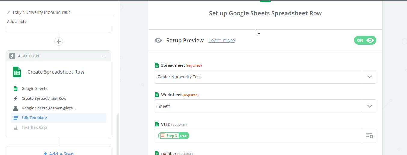 Zapier save phone number data Google Sheets
